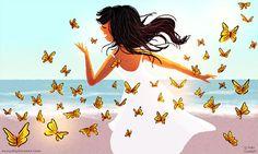 Papillon monarque Art de papillon lamour de locéan   par Nidhi Chanani.