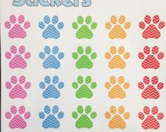 Chevron Paw Print Stickers.  Perfect for decorating your planner or scrapbook.