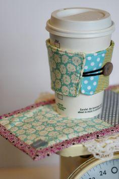 Happy Little Mug Rug & Coffee Coat Set Ready to by knittybitties, via Etsy.