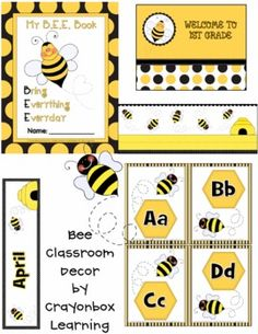 Bee Theme Classroom Decor Kit by CrayonboxLearning on Etsy Classroom Design, Kindergarten Classroom, Future Classroom, Classroom Themes, Classroom Organization, Class Decoration, Beginning Of School, Education, Crayon Box