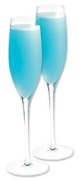 """The Something Blue"" 2 oz. Hpnotiq 2 oz. white wine 1 oz. ginger ale Serve in a Champagne flute. Bottled in France, Hpnotiq is a blend of premium vodka, tropical fruit juices, and a touch of Cognac"