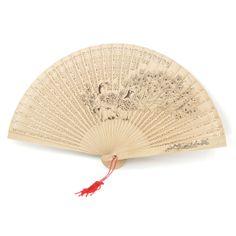 Folding Hand Fans | Craft Peacock Pattern Folding Burlywood Fragrant Hand Fan w Tassel #fans #photos