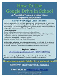 By Popular Request - October Webinar - How To Use Google Drive in School