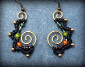 Gypsy Earrings Macrame & Brass - EARTHY Colurs Handmade Dangle Fairy Earrings - Wirework Eyecatcher Thailand Hippie Jewelry Koru Swirl