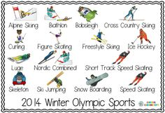 Sochi Winter Olympics Word Wall Posters