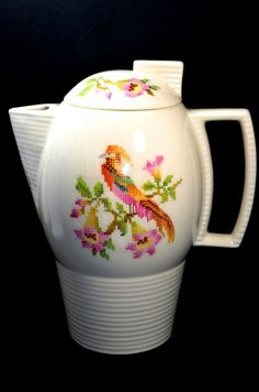 Art Deco Leigh Ware Cross-Stitch Cockatoo Design Coffee Tea Pot made in USA #CrossStitch #LeighPotters