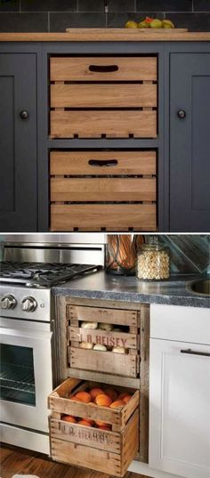 Insanely Cool Ideas for Storing Fresh Produce Add farmhouse style to kitchen by replacing cabinet drawers with these old wooden crates.Add farmhouse style to kitchen by replacing cabinet drawers with these old wooden crates. Kitchen On A Budget, New Kitchen, Kitchen Dining, Kitchen Rustic, Kitchen Island, Kitchen Small, Country Kitchen, Kitchen Pantry, Kitchen Backsplash