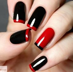 black and red mani