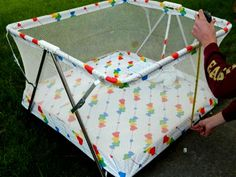 40 x 40 heart playpen...1970s/80s. For some reason I associate this playpen with HH Green Stamps.
