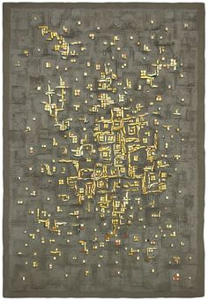 Byzantine Mosaic Venetian mosaic gold, fiberglass mesh, and mortar on hand formed cement panel 29 inches h x 20 inches w x 1 inch d