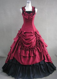 Deep Red and Black Cotton Gothic Victorian Dress