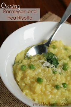 Creamy Parmesan and Pea Risotto is so creamy and delicious. This recipe is one you will make again and again. It's perfection