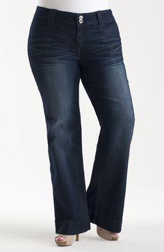 Stretch denim wide leg jean with a wide waistband. Wide Leg Denim, Plus Size Jeans, Body Shapes, Stretch Denim, Bell Bottom Jeans, Indigo, Diva, Legs, My Style