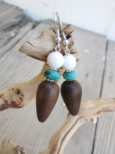 Wood Teardrops With Faceted Turquoise and by carolinesjewelrybox, $16.00
