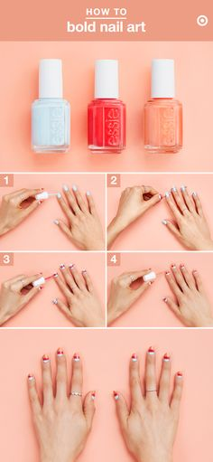 Bright polish is kinda like vitamin D for our nails. We're loving this colorblock, sunset-y look with essie's summer collection. Here's how to get the look. Prep: Apply top coat and cut up 20 small strips of nail tape. Step 1: Paint Blue-La-La on all ten nails. Step 2: Adhere tape on the base and tip of each nail, creating 3 sections. Step 3: Paint Éclair My Love horizontally along the middle area. Step 4: Paint tips with Fondant of You, then remove tape. Step 5: Seal with Gel Setter…