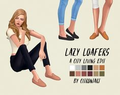"citrontart: "" CITY LIVING'S LOAFERS EDITED loafers are basically my favourite shoe in the entire world so I needed a plain version of the city living pair - this is a buttonless & deflowered version that is base game compatible! if you want, tag me..."