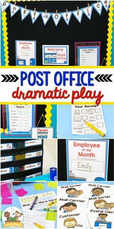 Post office theme dramatic play center for your preschool, pre-k, or kindergarten classroom. Printable props to help you easily transform your kitchen or home living dramatic play center into a post office by adding a few simple play props! Dramatic Play Themes, Dramatic Play Area, Dramatic Play Centers, Preschool Centers, Preschool Lessons, Preschool Music, Autism Learning, Play Based Learning, Play Corner