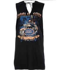2f2ce7b926e2b River Island Black tie neck rock band print tank top ( 14) ❤ liked on