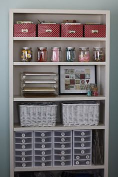 Craft storage-Spray paint those ugly metal shelves in the garage! ... Also for the playroom?