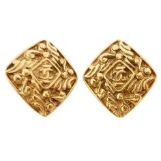 DEEPLY CARVED VINTAGE CHANEL EARRINGS at 1stdibs ❤ liked on Polyvore