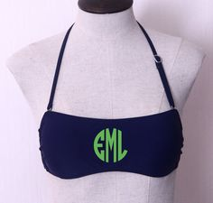 Personalized Monogram Bandeau Swimsuit Top - 7 Colors Available from The Cute Kiwi