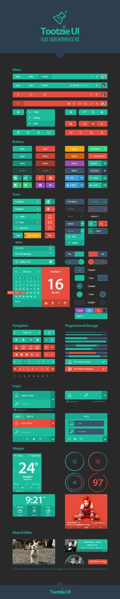 Awesome examples of flat UI design - Tootzie UI Kit by Josué Solano