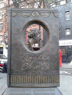 Agatha Christie Memorial London - The memorial by Ben Twiston-Davies is cleverly designed in the shape of a book reflecting her status as one of the world's best selling authors.