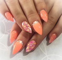 """""""The Bee's Knees� and """"Orange Crush� with """"Tango� �💕 Glitter Toe Nails, Red Nails, Hair And Nails, Acrylic Nails, Cute Nails, Pretty Nails, Orange Nail Designs, Orange Nail Art, Bright Summer Nails"""
