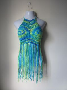 FESTIVAL  HALTER TOP, crochet Fringe top,  festival clothing, gypsy clothing, Hippie top, bohemian, colorful top, by Elegantcrochets on Etsy https://www.etsy.com/listing/190776894/festival-halter-top-crochet-fringe-top