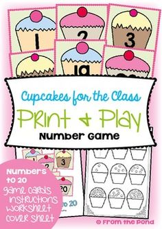 Numbers Cupcakes for the ClassThis is a game from my print and play collection.It is a card game for a small group of players, or the whole class!Your students will help put the cupcakes into counting order and become familiar with numerals in forwards and backwards sequence!