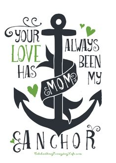 "Mother's Day Printable, ""Mom, Your Love Has Always Been My Anchor"" Available for FREE download in both Pink & Navy and Green & Navy. Happy Mother's Day!!"