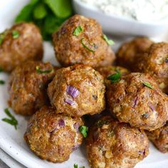 Pork or turkey meatballs that are melt in your mouth tender and packed with delicious asian flavours. A great main or appetiser(paleo/ gluten free/ Cumin Lamb, Pork Meatballs, Greek Lamb Meatballs, Tasty Meatballs, Thai Beef Salad, Asian Pork, Healthy Grains, Paleo Whole 30, The Fresh