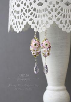 Long Dangle Ranunculus Earrings With Swarovski Crystals di Jurma