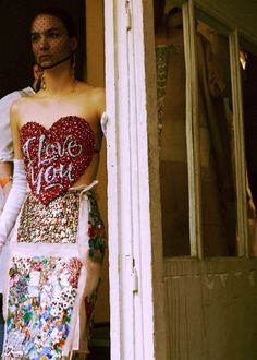 A crystal I Love You heart bustier backstage at Maison Martin Margiela Artisanal AW14. More images here: http://www.dazeddigital.com/fashion/article/20774/1/maison-martin-margiela-artisanal-aw14