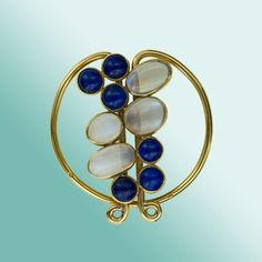 French Moonstone and Lapis Clip / Brooch. Money clip/ coat clip, lots of pretty possibilities