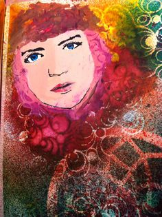Donna Downey stamp and Dylusions Inks