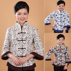 White/Blue Chinese Women'S Linen Shirt Top Blouse Size 6 8 10 12 14 16