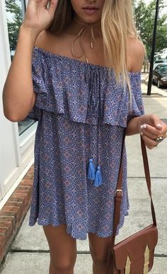 #summer #outfits / off the shoulder dress