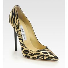 Jimmy Choo Anouk Animal-Print Metallic Leather Pumps ($650) ❤ liked on Polyvore