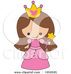 Cute Cartoon Princess   ... Vector Clip Art Illustration of a Cute Princess Girl by peachidesigns
