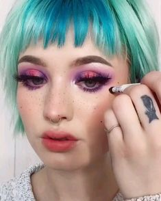 Lolita Makeup, Pastel Goth Makeup, Edgy Makeup, Bright Eye Makeup, Hair Makeup, Anime Makeup, Kawaii Makeup, Mode Emo, Cute Clown Makeup