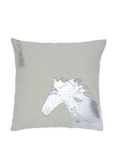 India's Heritage Silver Foil Horse Pillow, Ecru, 20