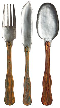 3 Piece Knife, Fork and Spoon Metal and Wood Wall Decor Set