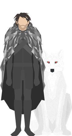 Game of Thrones - Jon Snow & Ghost THE NIGHTS WATCH by Nigel Evan Dennis
