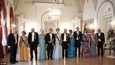 From left, former President of Finland, Martti Ahtisaari, Queen Sonja of Norway, King Hara...