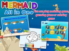 Come and enjoy the royal treat with Mermaid All-in-1 app, an awesome mermaid coloring book app, mermaid puzzles and many more underwater mermaid games for your little princess and mermaids. A sparkling experience fit for you Your Highness!