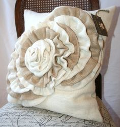 Burlap pillow case with an accent ruffles 18x18 (last one)