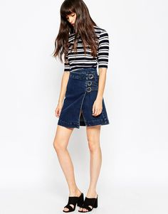 ASOS Denim Aline Wrap Mini Skirt With Buckles