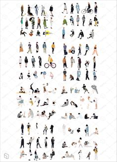 120 Flat Vector People Illustration for Architecture & Interior Design