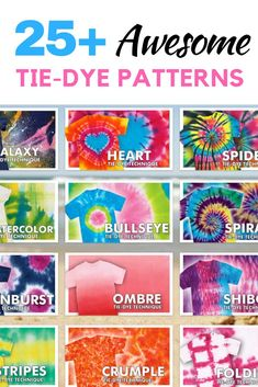 Tie Dye patterns you can totally make NOW! Tie dye basics to advanced tie dye techniques . And find more TIE DYE inspo at . Fête Tie Dye, Tulip Tie Dye, Tie Dye Party, Bleach Tie Dye, Tie And Dye, Tie Dye Tips, Bleach Pen, Tie Dye Shoes, Kids Tie Dye